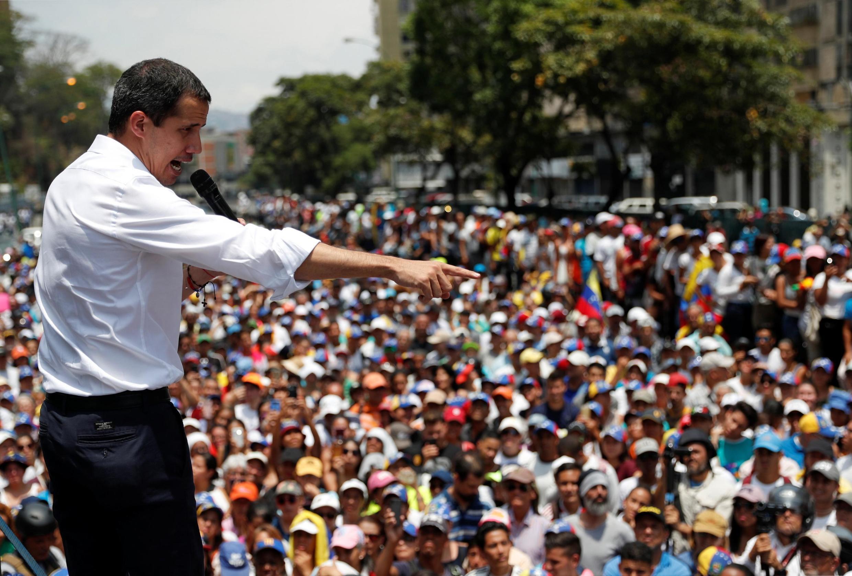 Venezuela : Lãnh đạo đối lập Juan Guaido trong cuộc biểu tình chống chính quyền Maduro, ngày 01/05/2019 tại Caracas.