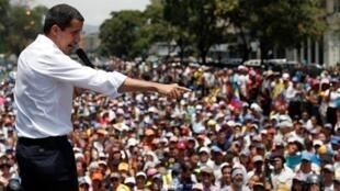 Juan Guaidó quer remobilizar seus apoiadores em manifestações como a que aconteceu no dia 1° de maio em Caracas.