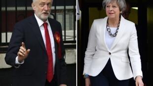 Le 8 juin 2017, les Britanniques éliront un nouveau Parlement. En tête des sondages, le parti travailliste de Jeremy Corbyn (à gauche), et le parti conservateur de la Première ministre Theresa May (à droite).