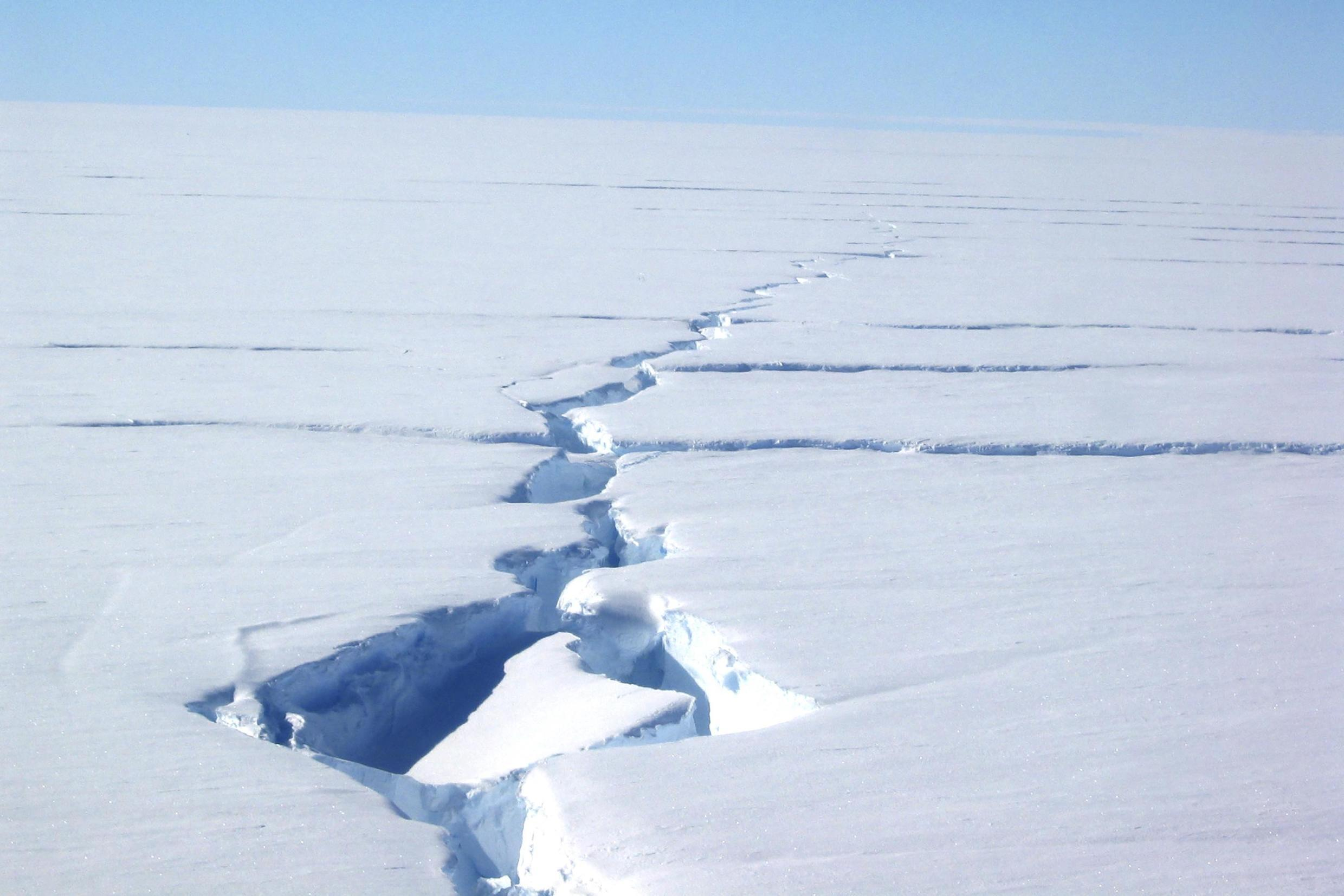 """Undated picture shows a """"loose tooth"""" on the Amery ice shelf in eastern Antarctica."""