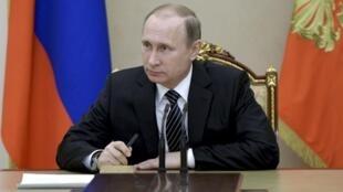 Rais wa Urusi Vladimir Putin katika mkutano wa Kremlin, Moscow, Machi 17 2016.