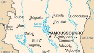 Carte de la Côte d'Ivoire.