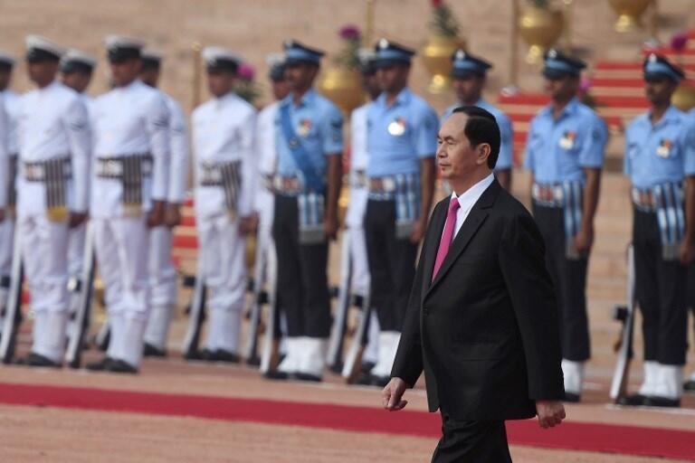 Lễ đón tiếp chủ tịch nước Việt Nam Trần Đại Quang tại phủ tổng thống Ấn Độ, New Delhi, ngày 03/03/2018