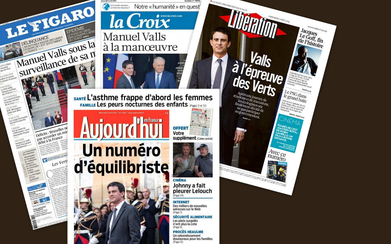 Capa dos jornais franceses, Aujourd'hui, Le Figaro, La Croix, Libération.