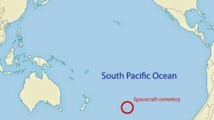 """Vị trí """"nghĩa trang"""" chôn các vật thể vũ trụ nằm ở phía nam Thái Bình Dương."""