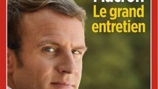 Capa da revista Le Point com a entrevista de Emmanuel Macron.