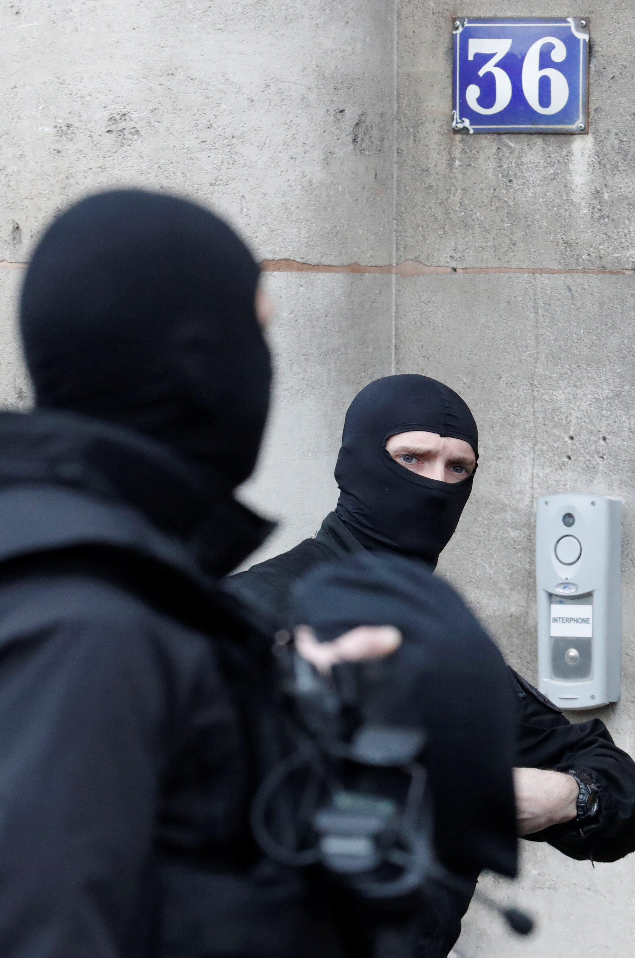 Members of the French special police force (BRI) in Paris on Monday