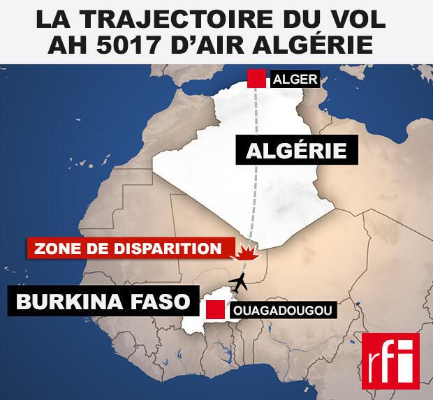 Trajectoire prévue du vol d'Air Algérie AH5017.