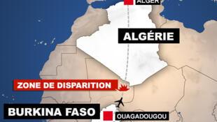 """Trayectoria inicial del vuelo AH 5017. En rojo, la """"zona de desaparición""""."""