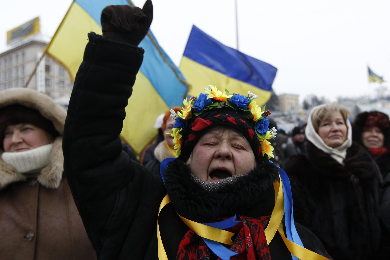 A Kiev, sur la place de l'Indépendance, ce mardi 28 janvier 2014.