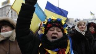 Place de l'Indépendance, à Kiev, le 28 janvier 2014.