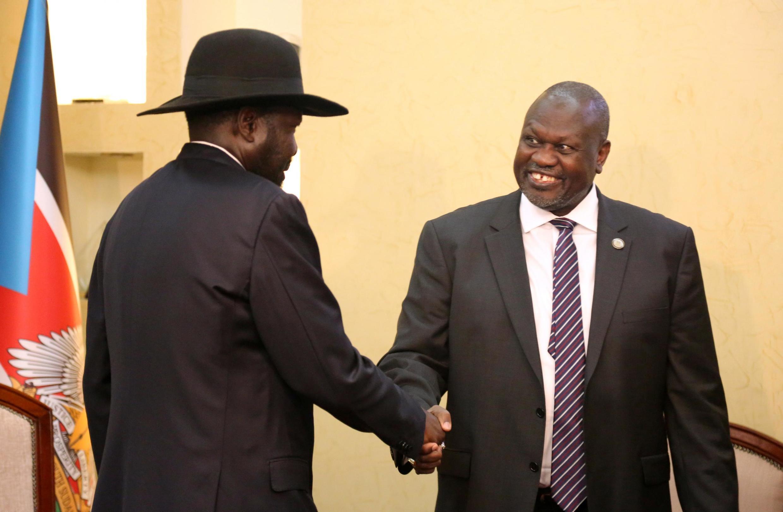 O Presidente Salva Kiir e o seu rival Riek Machar.15 de Janeiro de 2020