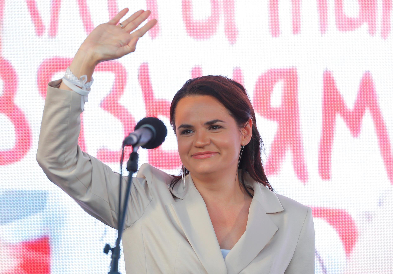 Кандидат в президенты Беларуси Светлана Тихановская на митинге-концерте в Минске 30 июля 2020.