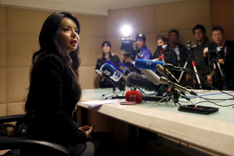 Hoa hậu Canada Anastasia Lin (Lâm Gia Phàm) trong cuộc họp báo tại Hồng Kông ngày 27/11/2015.