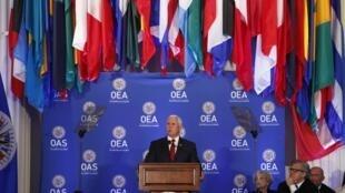 el Vice Presidente estadounidense Mike Pence ante la OEA pide sanciones contra Caracas. 07/05/2018