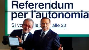 Força Iália, ressuscita Silvio Berlusconi e apoia realização de referendo sobre a autonomia da região da Lombardia.
