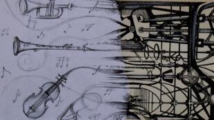 Dessin réalisé à partir de «Ecouter Paris sur le chantier de la Philharmonie de Paris»