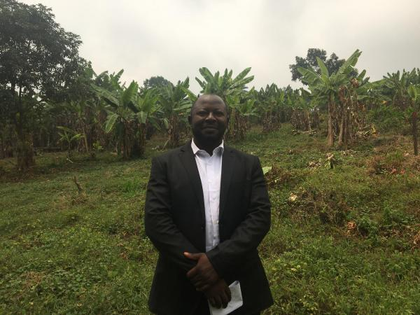 Baudouin Akoh Ngah, founder and head of Global Forum for the Defense of the Less Privileged in Buea, at the site of the future GFDLP crisis center