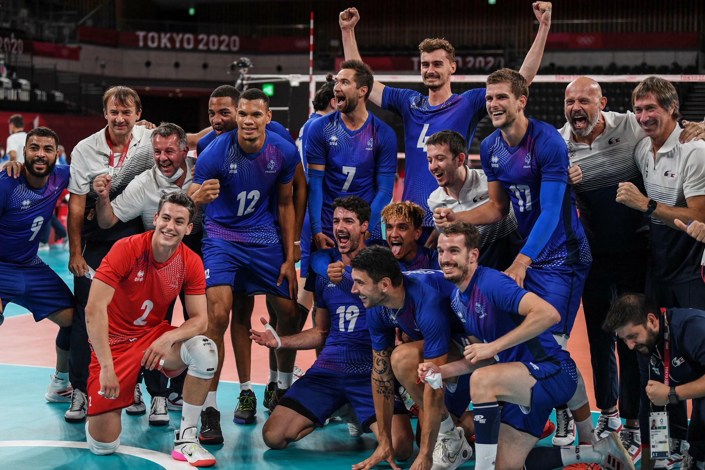 """Mission accomplie pour le """"Team Yavbou"""" après sa victoire incroyable sur la Pologne dans le tournoi olympique de volley à Tokyo, le 3 août 2021"""