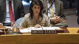 Đại sứ Mỹ tại Liên Hiệp Quốc Nikki Haley phát biểu tại cuộc họp Hội Đồng Bảo An ngày 21/02/2017.