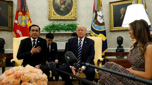 General Prayut Chan-O-Cha meeting with US president Donald Trump in the White House on October 2