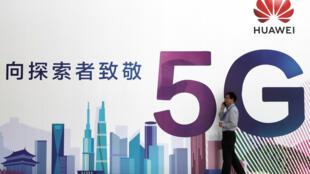 Quảng cáo công nghệ 5G của Hoa Vi (Huawei) tại triển lãm PT, Bắc Kinh, ngày 26/09/2018.