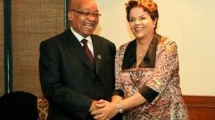 Presidenta Dilma Rousseff durante encontro com o Presidente da África do Sul, Jacob Zuma. (Nova Délhi - Índia, 28/03/2012)