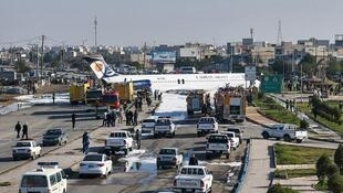 O avião da Caspian Airlines que saiu da no aeroporto de Bandar-e Mahshahr, no sudoeste do Irã.