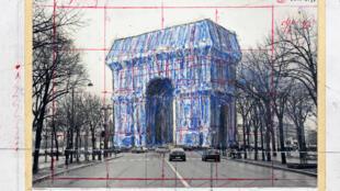 Christo arc de triomphe -bleu