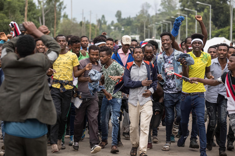 Maandamano ya raia wa Etiopia kutoka jamii ya Oromos dhidi ya serikali, Oktoba 1, 2017 huko Bishoftu.