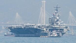 The US Navy's USS Ronald Reagan (CVN-76) aircraft carrier is seen during a port visit in Hong Kong on November 21, 2018.