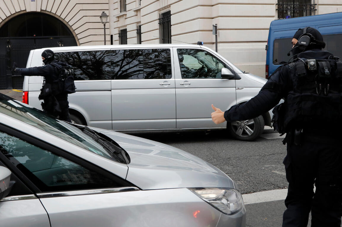 A van carrying Mehdi Nemmouche arrives at the court in Paris on Wednesday