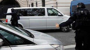 Mehdi Nemmouche arrives at a court in Paris in a blinded vehicle on 15 November 2017