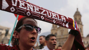 圖為委內瑞拉加拉加斯反對派民眾2019年2月2日示威擁護瓜伊多。