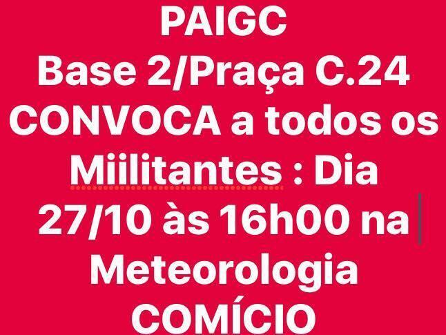 Convocatória para comício contra Presidente José Mário Vaz e seu governo ilegítimo