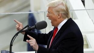 Tổng thống Trump và bài diễn văn đầu tiên sau khi tuyên thệ nhậm chức. Ảnh ngày 20/01/2017.