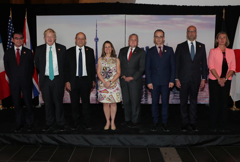 Ngoại trưởng Canada Freeland (g) và các đồng nhiệm trong nhóm G7 tại Toronto (Ontario, Canada) ngày 22/04/2018.