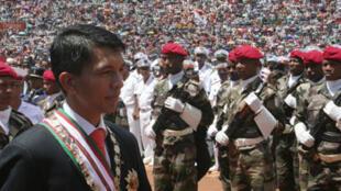 Andry Rajoelina lors de sa cérémonie d'investiture à Antananarivo, le 21 mars 2009.