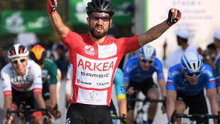 Nacer Bouhanni winning a stage on the Saudi Tour in February 2020