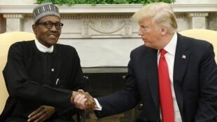 Shugaban Najeriya Muhammadu Buhari yayin ganawa da Donald Trump tsohon shugaban Amurk.