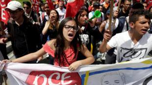 Manifestación pidiendo mayores recursos para la educación pública, Bogota, 23 de octubre.