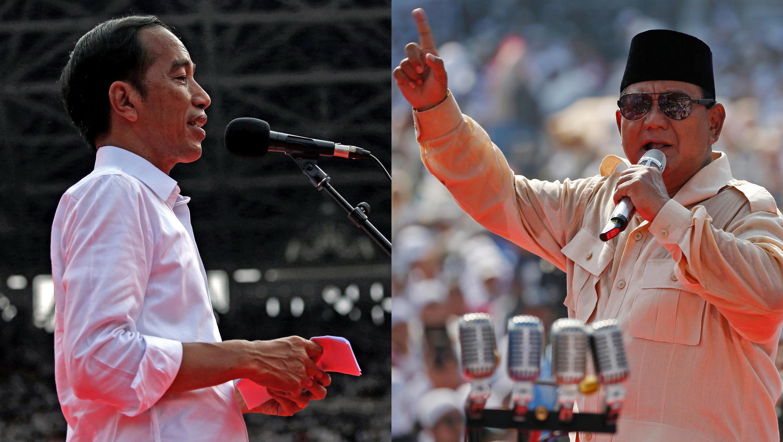 Indonésia o presidente cessante Joko Windodo (esq) é dado como favorito nas eleições presidenciais de 17 de Abril face ao seu rival Prabowo Subianto