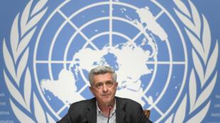 El alto comisionado de la ONU para los Refugiados, Filippo Grandi, durante una rueda de prensa que dio el 16 de junio de 2020 en la ciudad suiza de Ginebra
