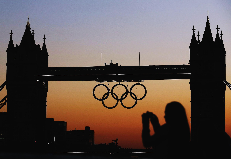 Olympic rings on Tower Bridge, London