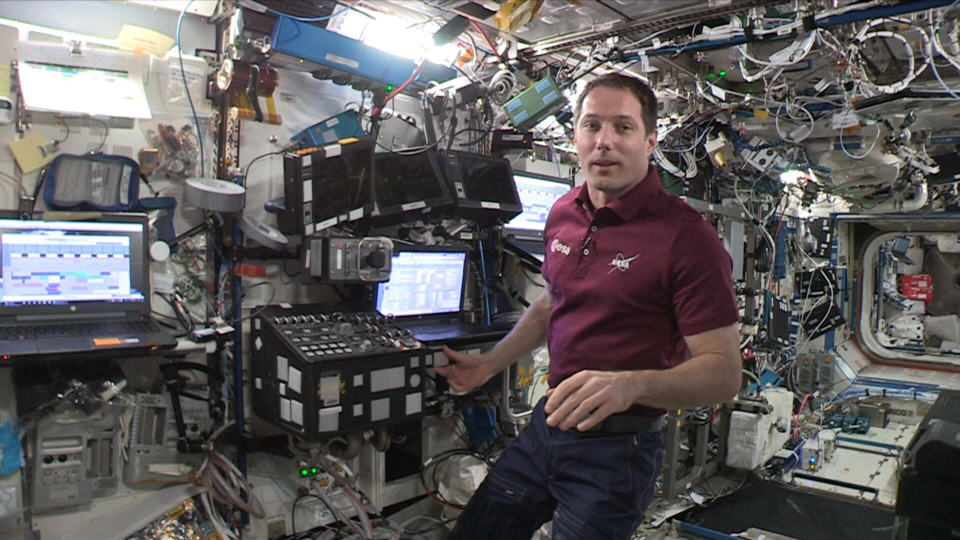 L'astronaute Thomas Pesquet, à bord de la Station spatiale internationale