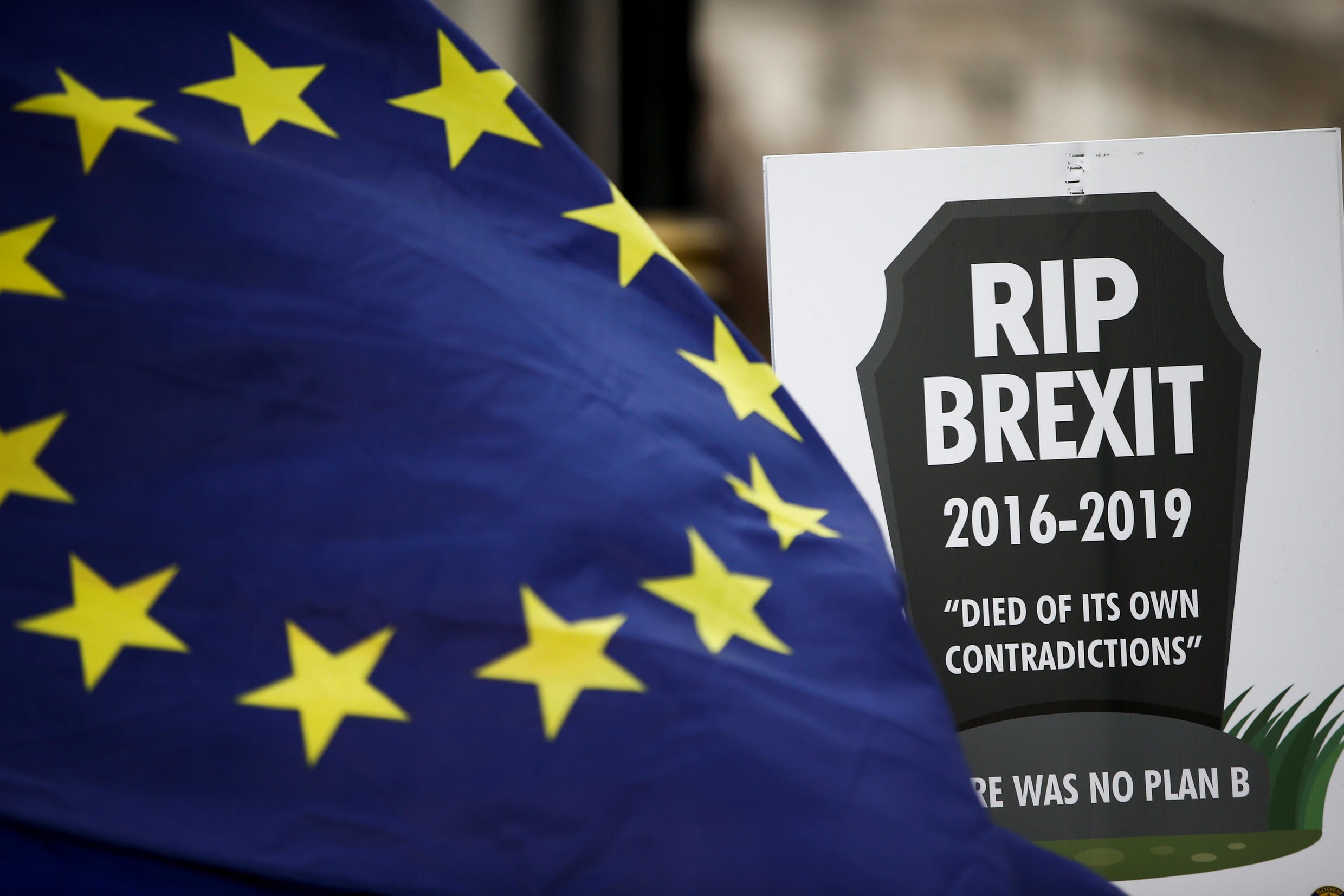 A banner belonging to anti-Brexit protestors can be seen outside the Houses of Parliament in London, Britain February 7, 2019.