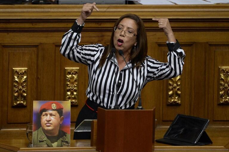 Tania Diaz en 2016, lors d'une session extraordinaire de l'Assemblée nationale à Caracas.