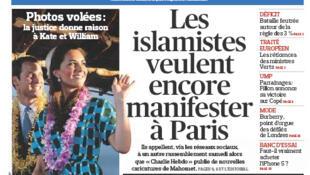Capa do jornal francês Le Figaro desta quarta-feira, 19