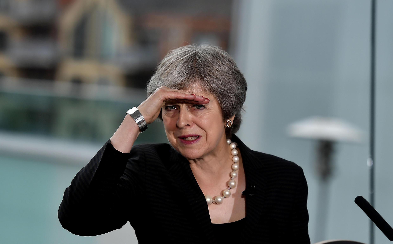 Theresa May, primeira-ministra britânica, aquando de um discurso em Belfast, Irlanda do Norte a 20 de Julho de2018.