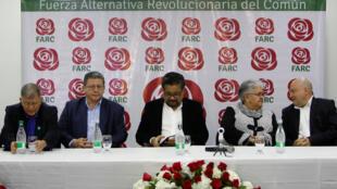 Membros do partido político Farc durante a apresentação de seus candidatos em Bogotá, em 1 de novembro de 2017